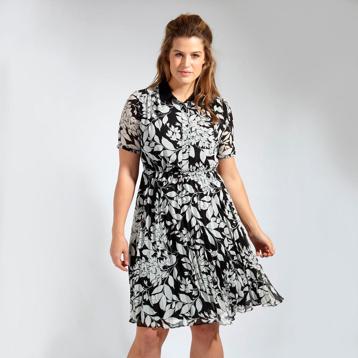 ПлатьеПлатье LOVEDROBE. Красивое платье с рубашечным воротником на пуговицах . Эффект плиссировки снизу . 100% полиэстер<br><br>Цвет: цветочный рисунок<br>Размер: 50/52 (FR) - 56/58 (RUS).48 (FR) - 54 (RUS)
