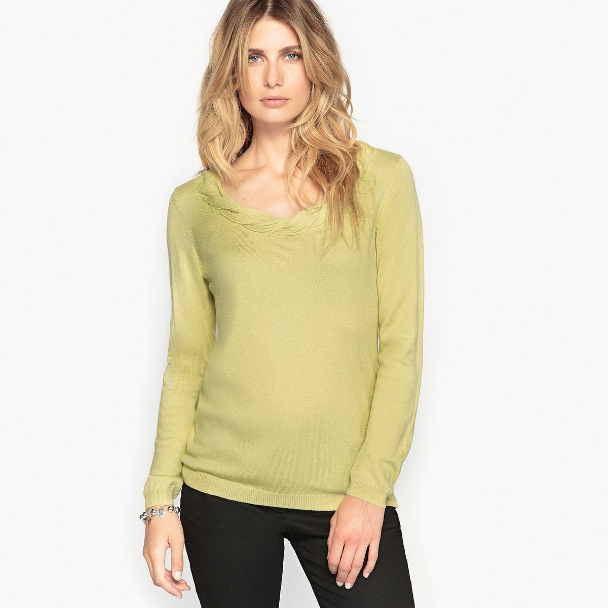 Sweter z ozdobnym dekoltem 8% wełny