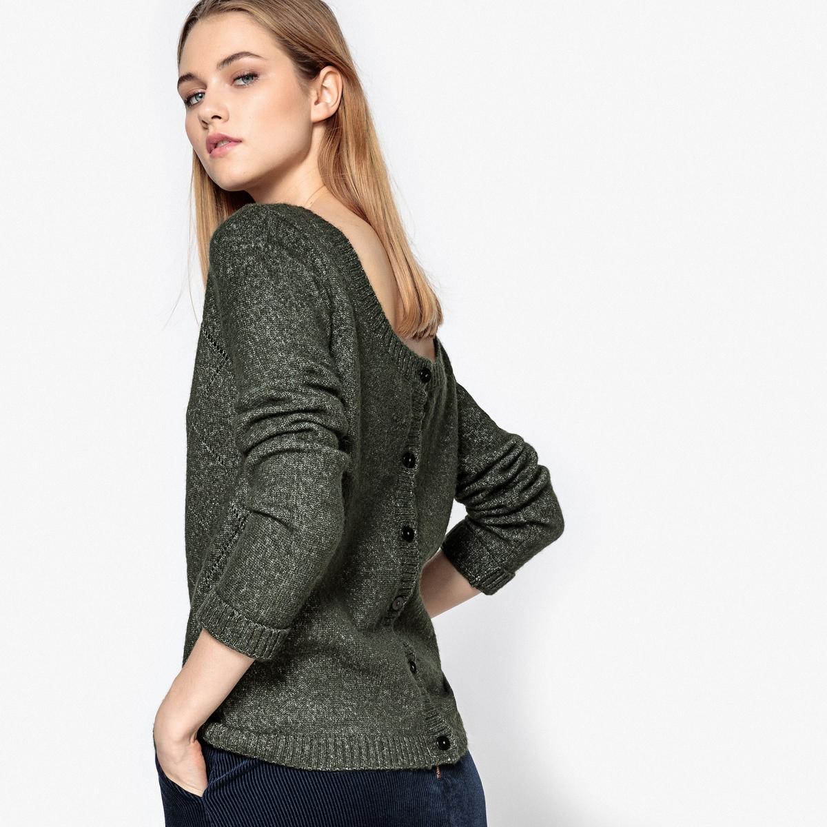 Пуловер ажурный с застежкой на пуговицы сзади
