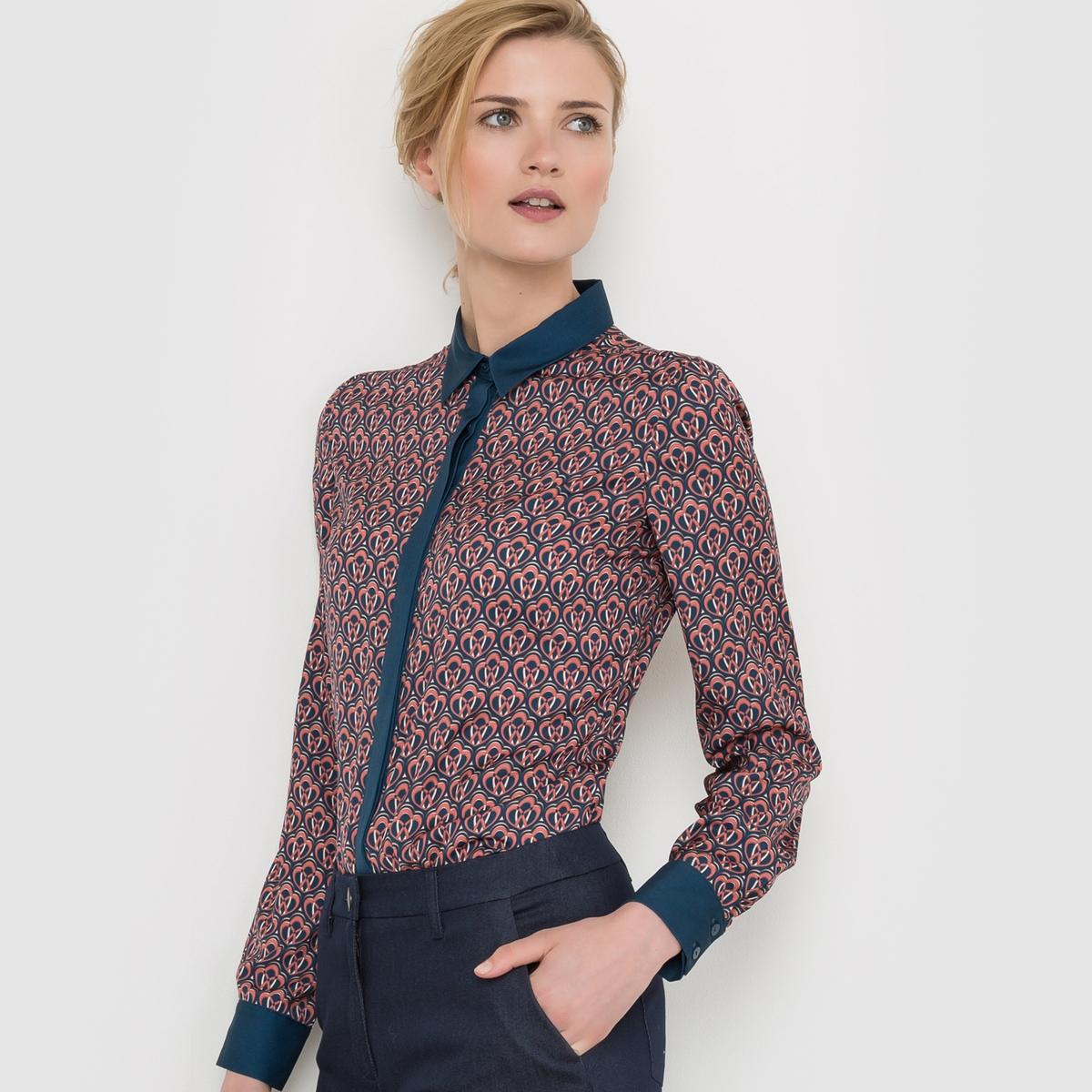 Рубашка с рисункомРубашка струящаяся, с бархатистым эффектом и рисунком . Однотонные контрастные манжеты, планка застежки и воротник . Длинные рукава с пуговицами внизу. Рубашечный воротник. Супатная застежка на пуговицы спереди . Состав и описаниеМарка : Atelier RМатериал : 100% полиэстерДлина : 68 смУходМашинная стирка при 30°C на деликатном режиме   с вещами схожих цветов Стирка и глажка с изнаночной стороныГладить на низкой температуре с изнанки<br><br>Цвет: набивной рисунок<br>Размер: 48 (FR) - 54 (RUS)