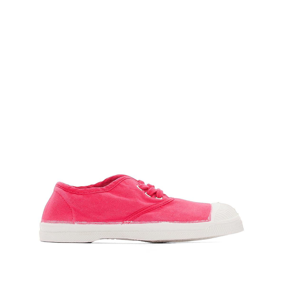 Кеды хлопковыеДетали   •  Спортивный стиль •  Плоский каблук •  Застежка : шнуровкаСостав и уход   •  Верх 100% ткань •  Подкладка 100% текстиль •  Стелька 100% текстиль •  Подошва 100% каучук<br><br>Цвет: розовый