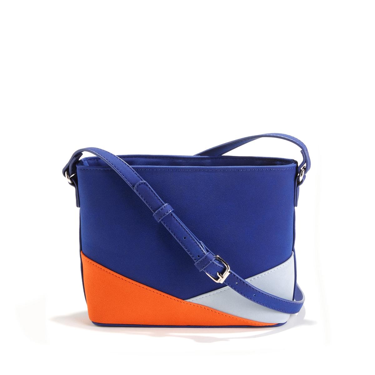 Сумка трехцветнаяОписание:Компактная и удобная сумка с соблазнительными цветными складками, придающими ей особенную оригинальность : идеально подчеркнет ваш стильный образ  !Состав и описание : •  Внешний материал : 100% полиуретан •  Подкладка : 100% полиэстер •  Размер  : L25 x H17 x P8 см  •  Застежка : молния1 карман для телефона и 1 карман на молнии   Регулируемый плечевой ремень<br><br>Цвет: коралловый,синий/ оранжевый<br>Размер: единый размер.единый размер