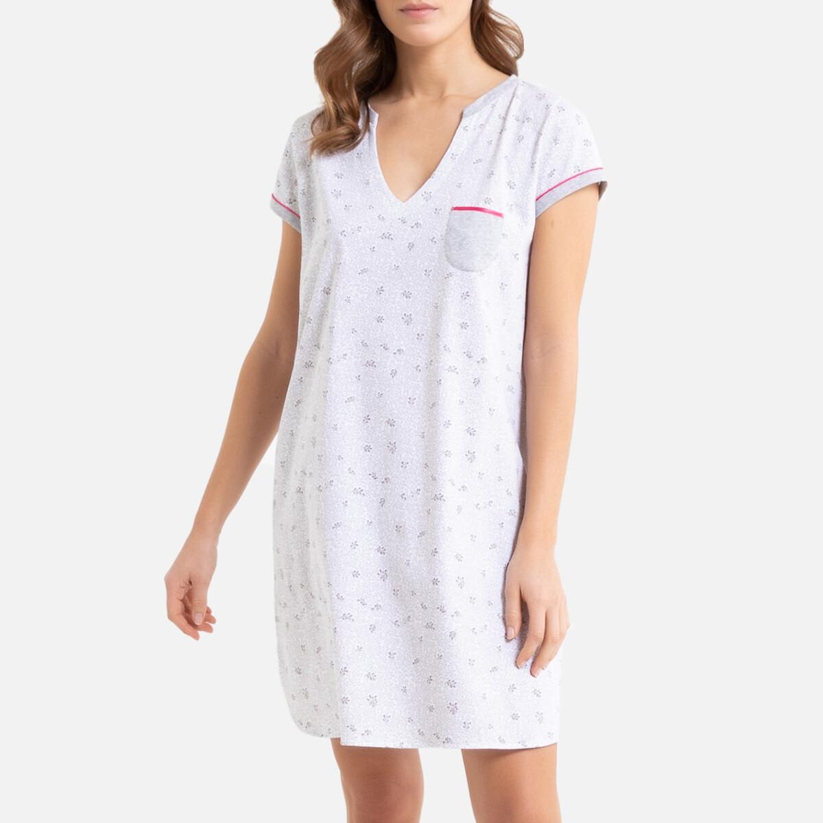 Рубашка La Redoute Ночная из хлопка Bourgeon 44 (FR) - 50 (RUS) белый комплект из полотенце для la redoute рук из хлопка и льна nipaly 50 x 100 см белый