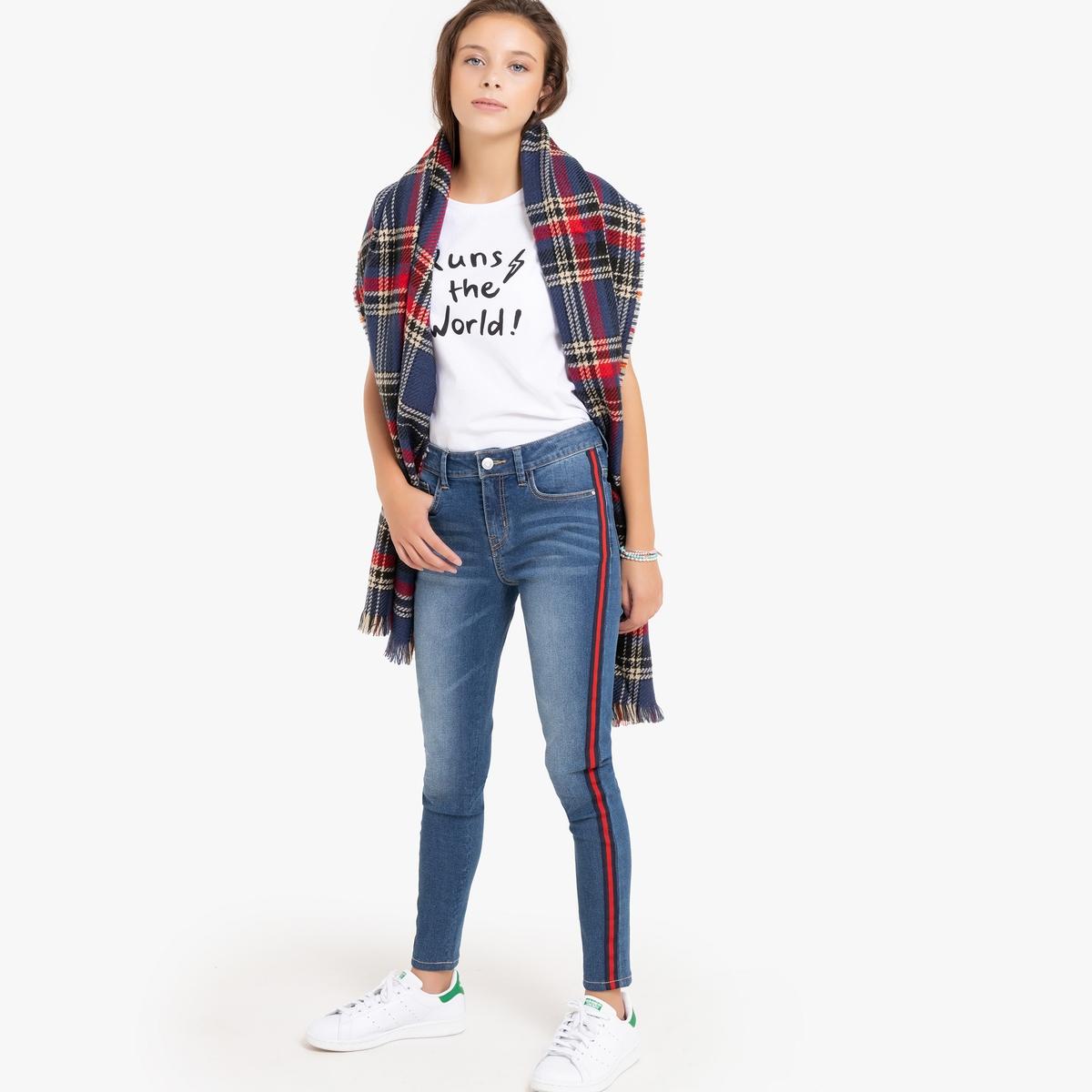 цена Джинсы-скинни La Redoute С боковыми полосками 10 синий онлайн в 2017 году