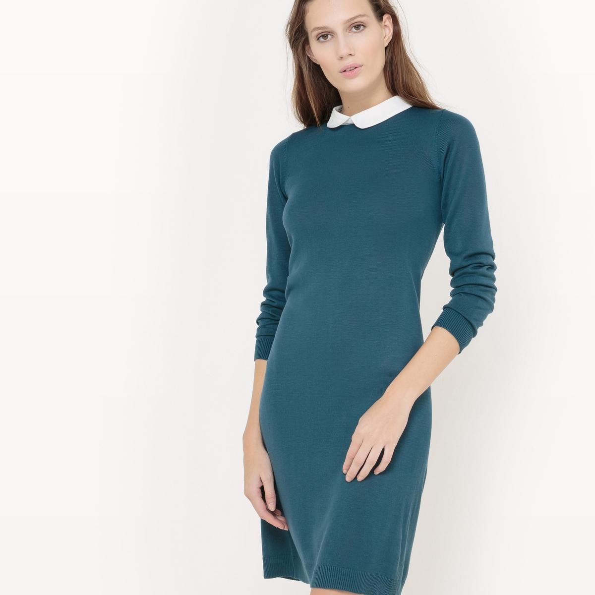 Платье-пуловер с отложным воротникомПлатье-пуловер из тонкого трикотажа . Длинные рукава. Контрастный отложной воротник. Вырез-капелька с застежкой на пуговицу сзади. Состав и описаниеМатериал : Трикотаж 100% акрил - Воротник 100% полиэстерДлина : 95 смМарка :      R ?ditionУход Машинная стирка при 30°C на деликатном режиме С вещами схожих цветов<br><br>Цвет: сине-зеленый,черный