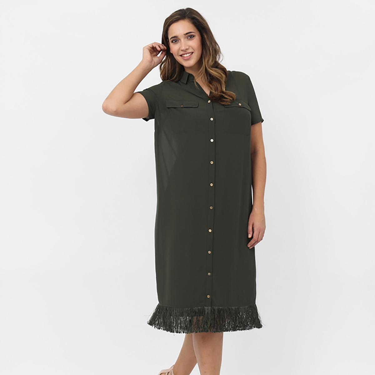 Платье с короткими рукавамиПлатье с короткими рукавами KOKO BY KOKO, Рубашечный воротник. Застёжка на пуговицы по всей длине. 2 кармана. Низ с бахромой. Длина около 102 см. 100% полиэстера<br><br>Цвет: хаки<br>Размер: 48 (FR) - 54 (RUS)