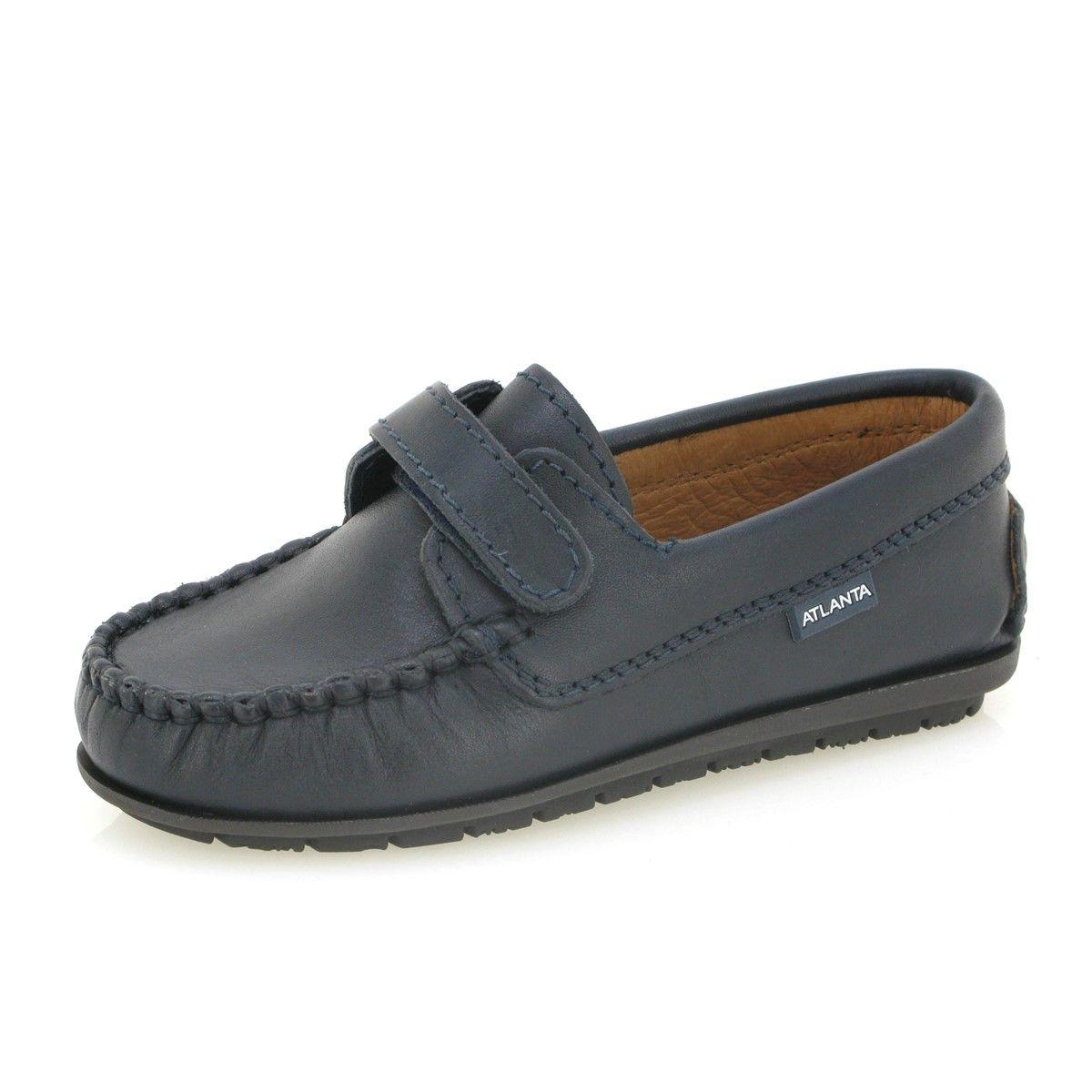 Chaussures mocassins Velcro en cuir rustique pour enfants