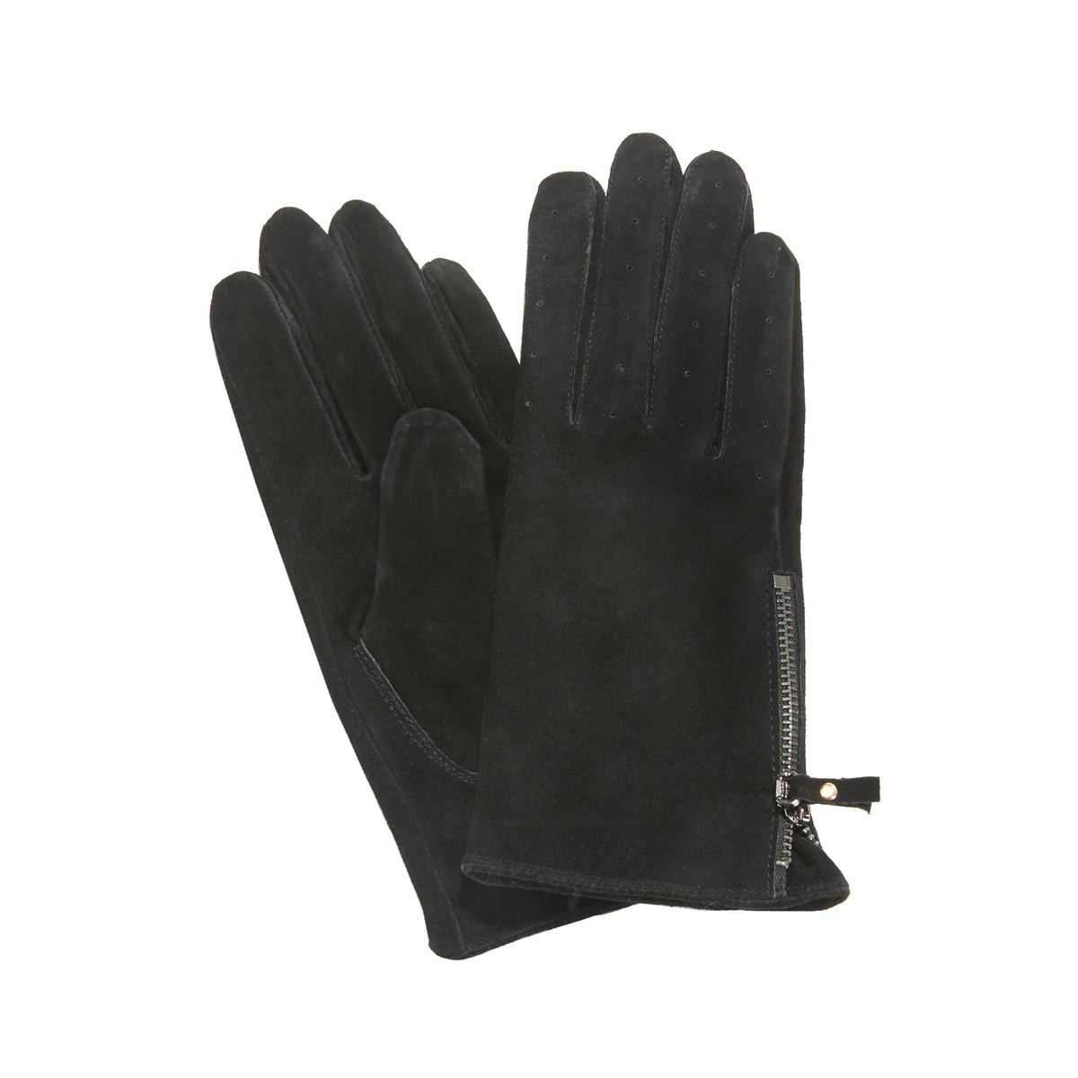 Перчатки La Redoute Кожаные на молнии S черный ботильоны la redoute кожаные на молнии размеры 26 каштановый