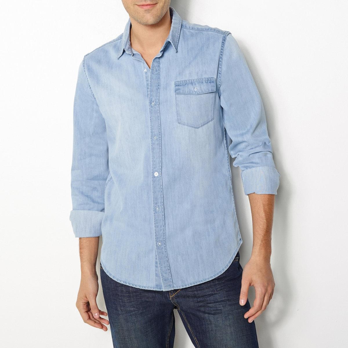 Рубашка узкая из денима, 100% хлопкаУзкая рубашка из денима. Рубашка из денима, 100% хлопка. Свободные уголки воротника. Планка застежки на перламутровые пуговицы спереди. Нагрудный карман. Закругленный низ. Длина 77,5 см.<br><br>Цвет: выбеленный<br>Размер: 43/44.37/38