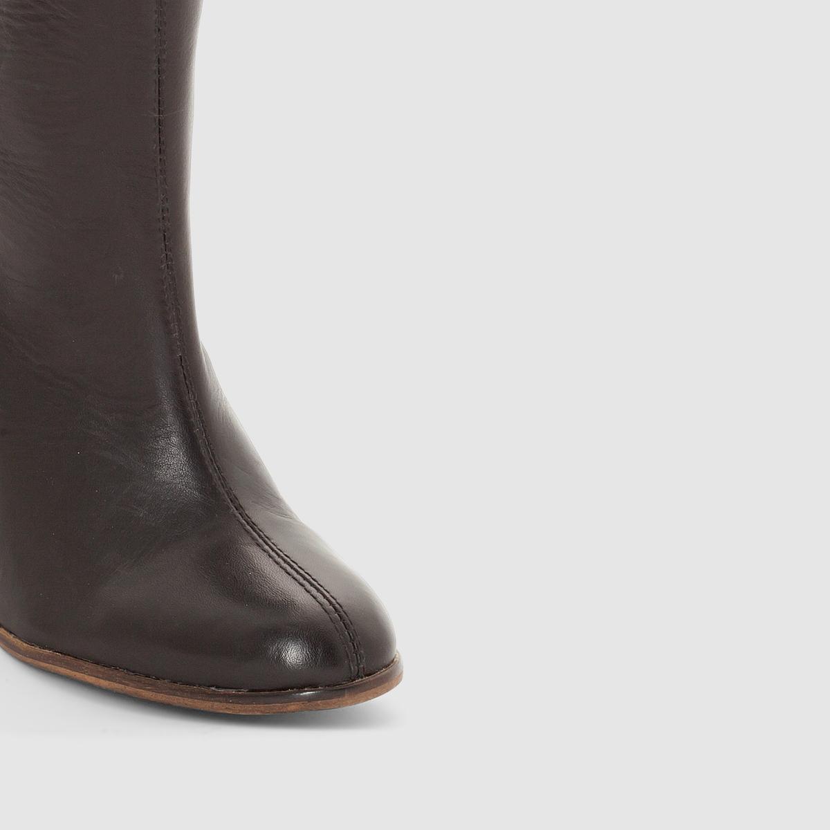 Сапоги из кожи на каблуке DailysticПодкладка : Спилок кожи    Стелька : Спилок кожи    Подошва : Neolite   Высота каблука : Высокий (от 7 до 9 см)    Высота голенища : 18 см.   Застежка : Без застежки<br><br>Цвет: черный<br>Размер: 36