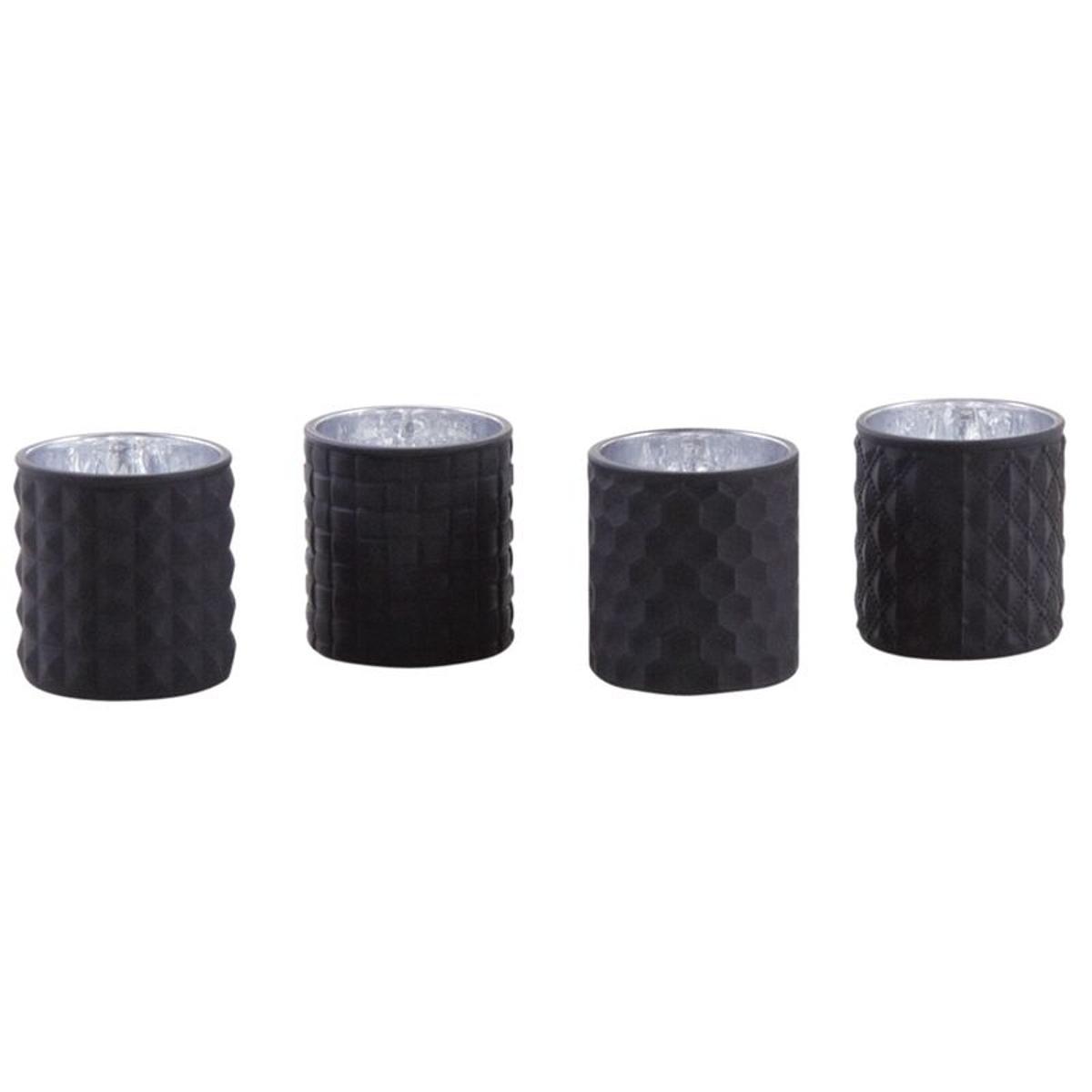 Photophore noir en verre teinté mat (Lot de 4)
