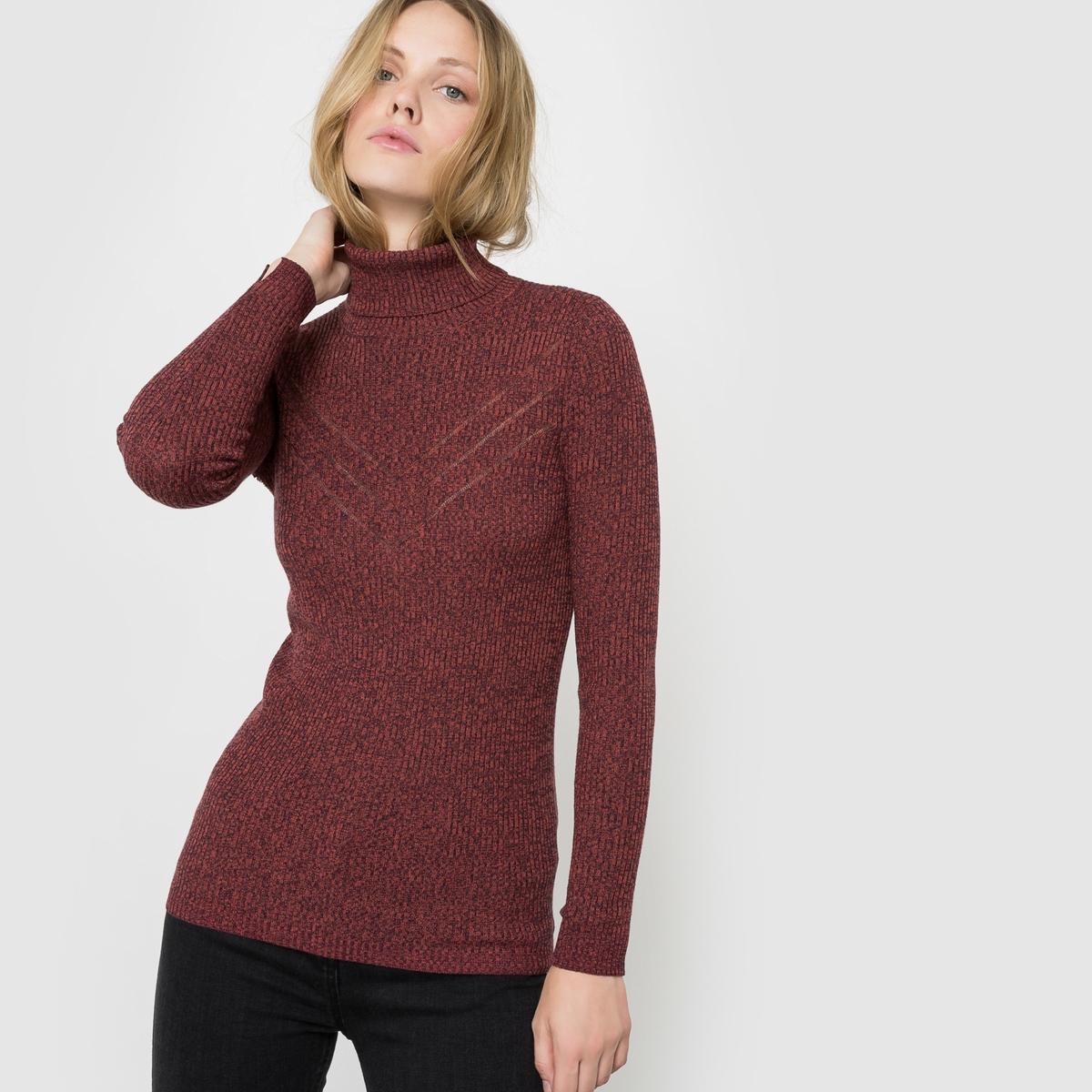 Пуловер с ажурным отворачивающимся воротником