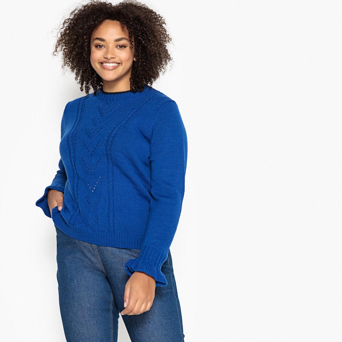 Пуловер La Redoute С воротником-стойкой из тонкого трикотажа 50/52 (FR) - 56/58 (RUS) синий цена в Москве и Питере