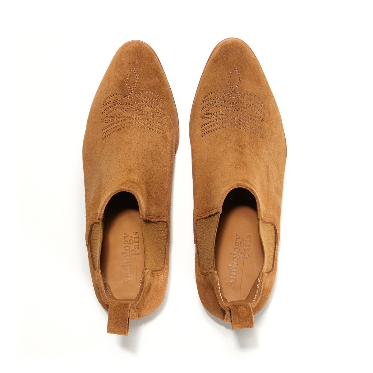 Ботильоны кожаные TampaОписание:Ботильоны на среднем каблуке ANTHOLOGY PARIS - модель TAMPA с эластичными вставками по бокам и прострочкой тон в тонДетали   •  Высота голенища : 17 см для размера 37 •  Высота каблука : 5 см •  Застежка : на молнию •  Круглый мысок •  Велюровая отделка, нубукСостав и уход •  Верх 100% кожа •  Стелька 100% кожа • Подошва из кожи<br><br>Цвет: коньячный