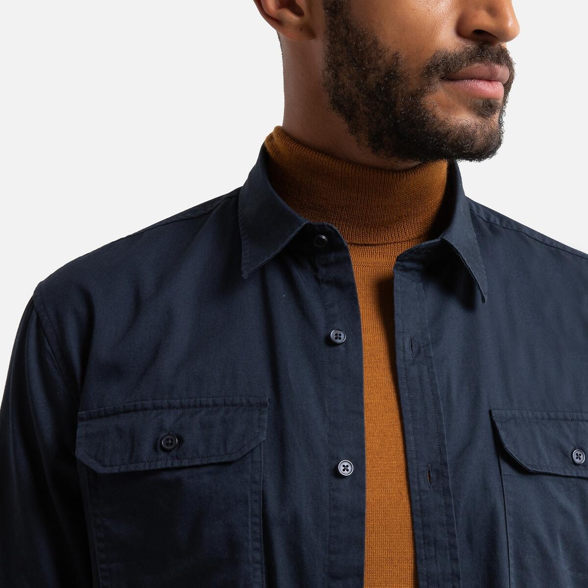Фото - Рубашка LaRedoute Прямого покроя с карманами на груди длинные рукава 45/46 синий юбка laredoute джинсовая прямого покроя xs синий