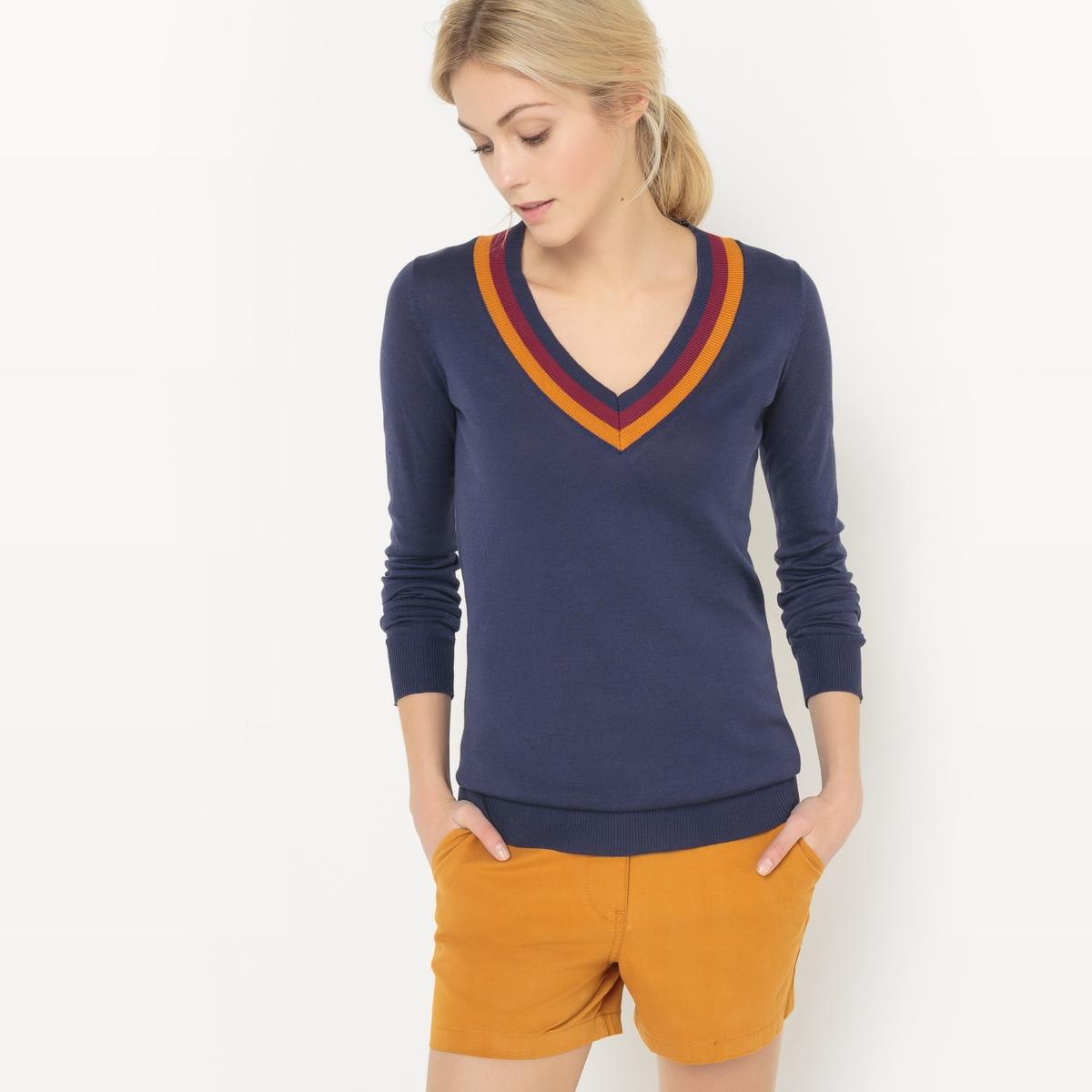 Пуловер с V-образным вырезом контрастного цветаПуловер с V-образным вырезом R essentiel. Длинные рукава. Трехцветный вырез.      Материал : 100% хлопок     Длина рукава : Длинные рукава     Форма воротника : V-образный вырез     Покрой пуловера : Стандартная     Рисунок : Однотонная модель     Стирка : машинная стирка при 30 °С     Уход : сухая чистка и отбеливание запрещены     Машинная сушка : запрещена     Глажка : при низкой температуре<br><br>Цвет: светло-серый меланж,темно-синий<br>Размер: XXL.XL.L.M