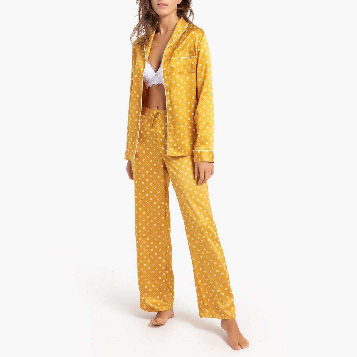 Pijama de manga larga de satén estampado