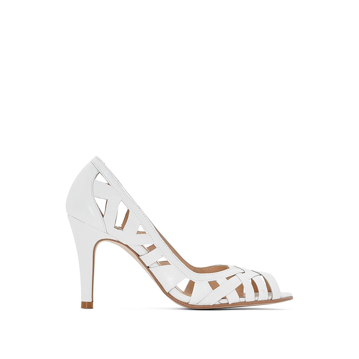 Туфли кожаные DjenyВерх : Кожа.   Подкладка : Кожа.   Стелька : Кожа.   Подошва : эластомер   Высота каблука : 8 см   Форма каблука : шпилька   Мысок : закругленный   Застежка : без застежки<br><br>Цвет: белый,коньячный<br>Размер: 39