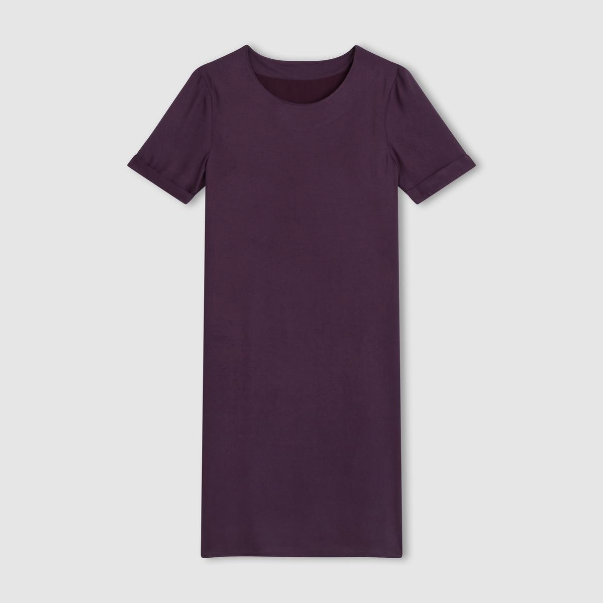 Платье с короткими рукавамиПлатье-футляр. 100% вискозы. Подкладка из 100% полиэстера. Короткие рукава. Закругленный вырез. Длина ок.95 см.<br><br>Цвет: фиолетовый<br>Размер: 36 (FR) - 42 (RUS)