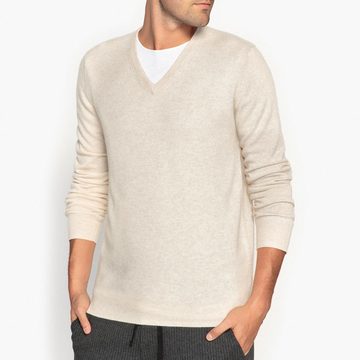 Пуловер из кашемира с V-образным вырезомПуловер с длинными рукавами. Прямой покрой, V-образный вырез. Края низа и рукавов связаны в рубчик.Состав и описание Материал : 100% кашемирДлина : 66 смМарка : R essentiel<br><br>Цвет: экрю<br>Размер: S.L