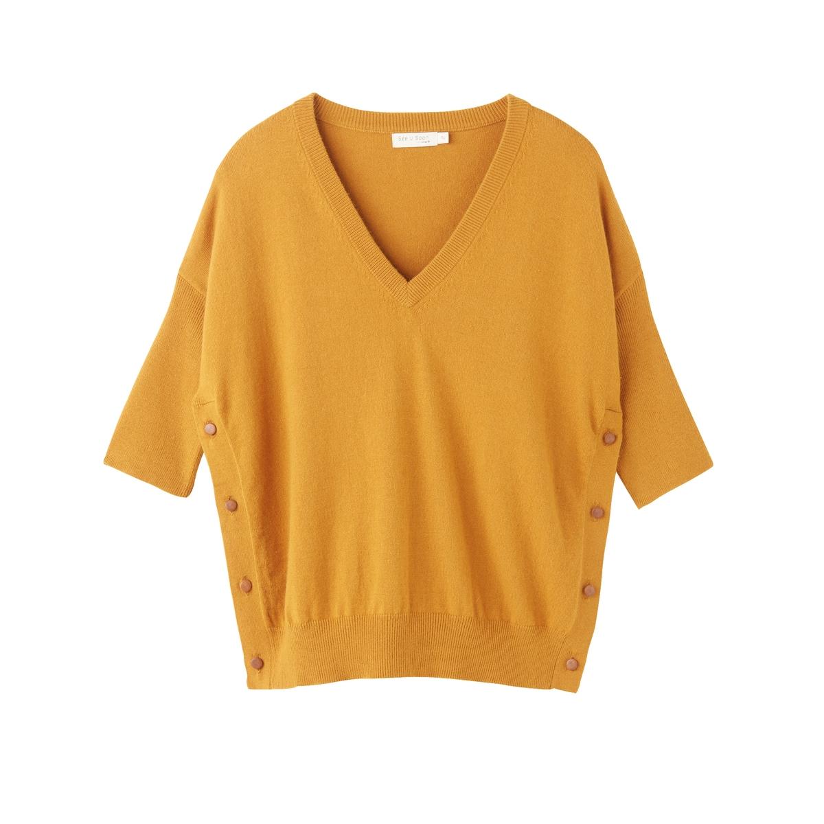 Пуловер из тонкого трикотажа с V-образным вырезомДетали •  Рукава 3/4 •   V-образный вырез •  Тонкий трикотаж Состав и уход •  10% вискозы, 35% шерсти, 35% кашемира, 20% полиамида •  Следуйте советам по уходу, указанным на этикетке<br><br>Цвет: охра
