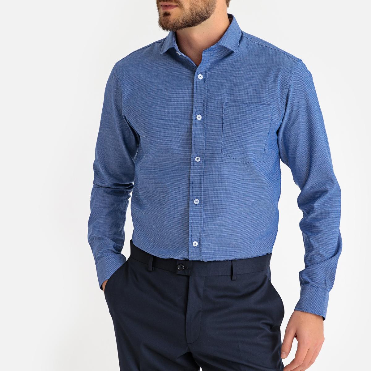 Camisa recta con microcuadros, manga larga