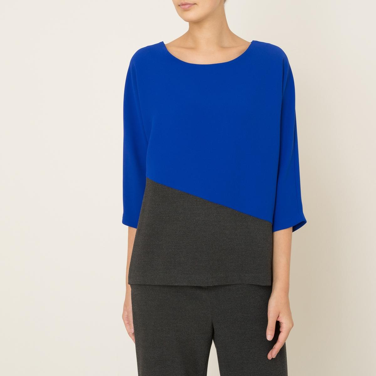 Блузка объемная SAUVAGEБлузка TOUPY - модель SAUVAGE, двухцветная. Объемный покрой. Вырез-лодочка. Рукава 3/4. Асимметричные отрезные детали.      Состав и описание     Материал : 100% полиэстер     Марка : TOUPY<br><br>Цвет: синий/ серый