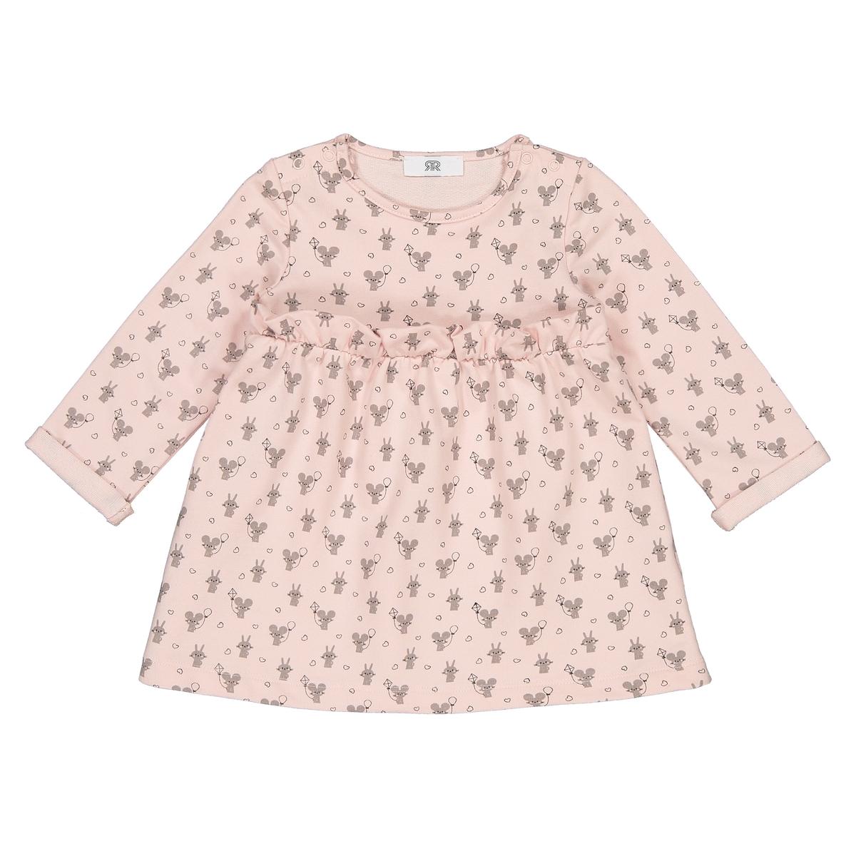 Платье La Redoute С длинными рукавами с рисунком мес - года 2 года - 86 см розовый футболки la redoute с длинными рукавами мес года 2 года 86 см разноцветный