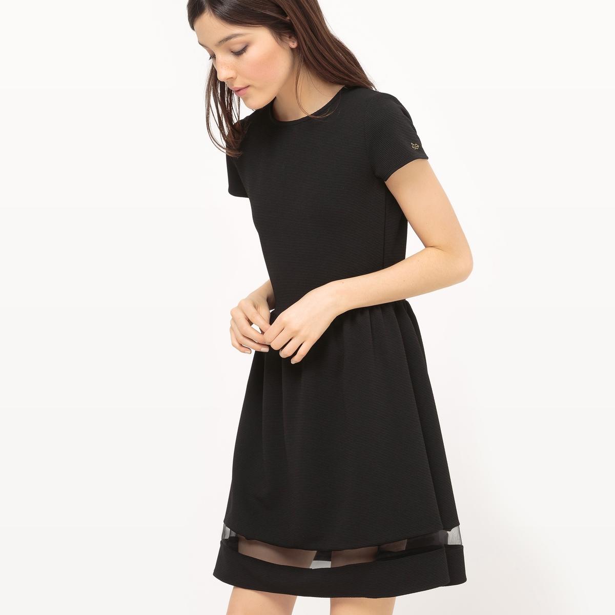 Платье расклешенное с прозрачной полосой внизу