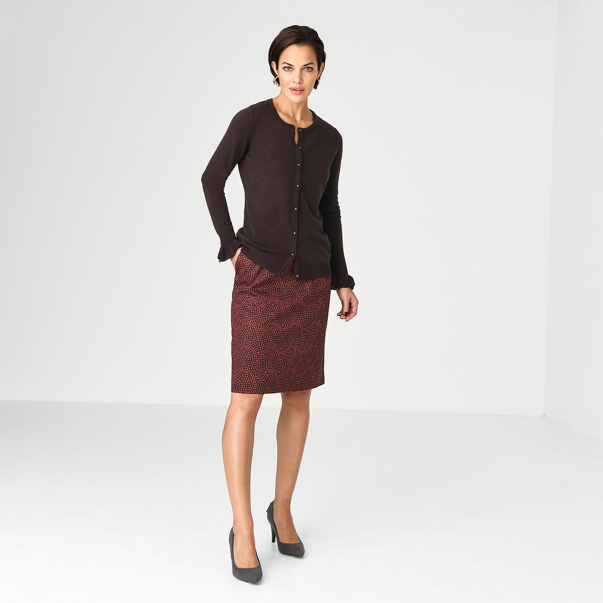 Imagen principal de producto de Falda recta estampada de satén de algodón stretch - Anne weyburn