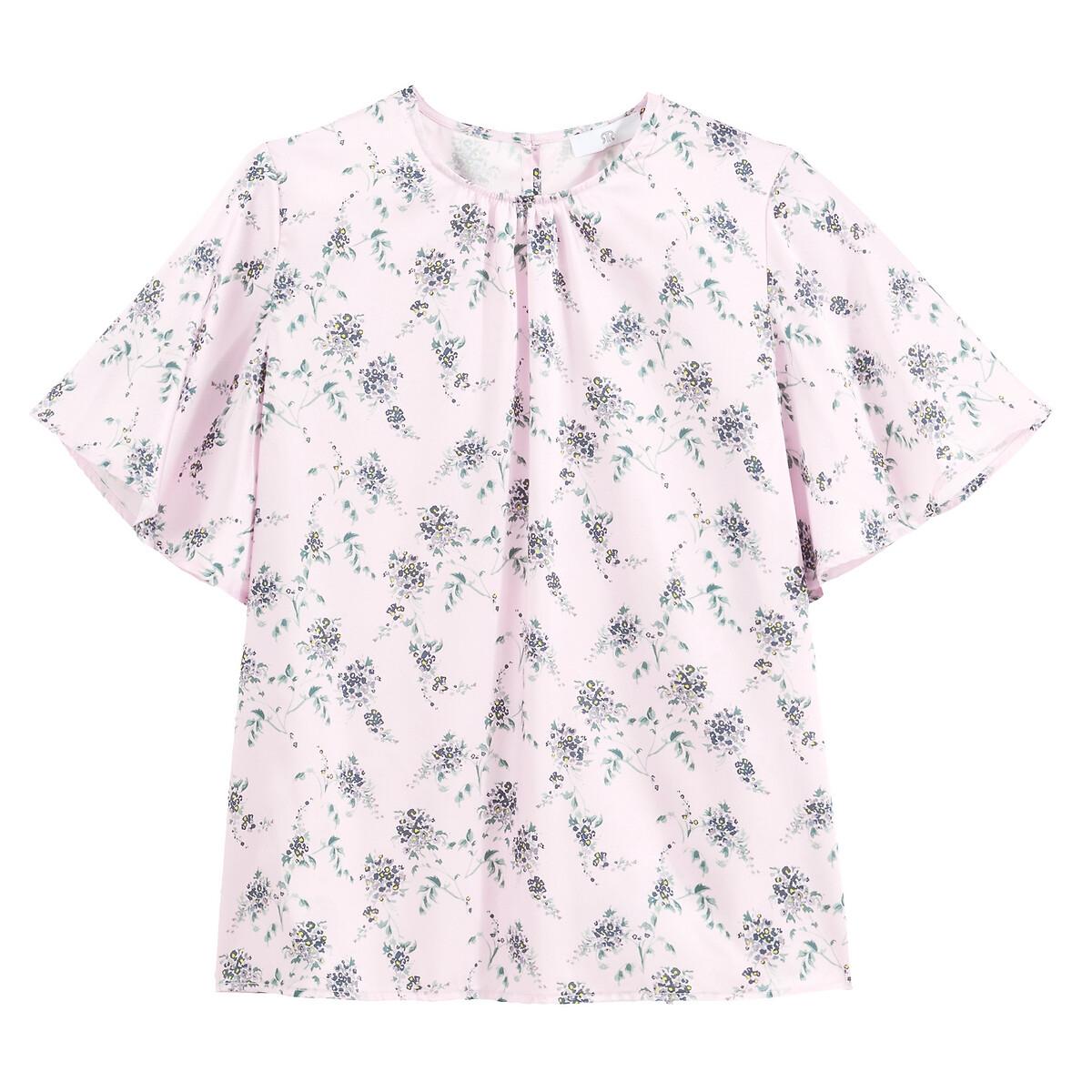 Blusa con cuello redondo y estampado de flores, de manga corta