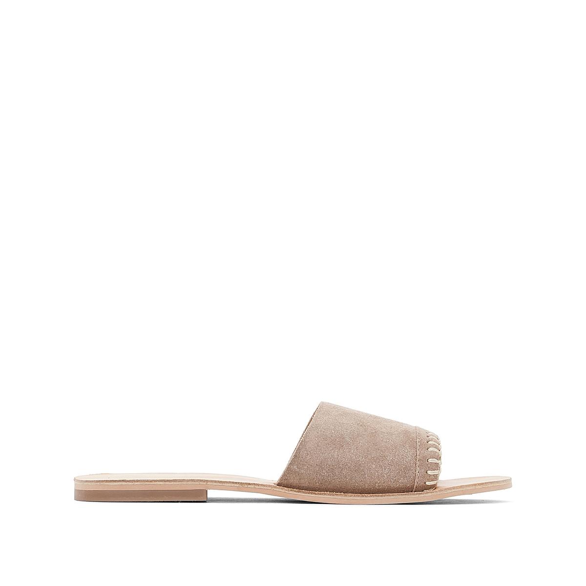 Туфли без задника кожаныеДетали •  Сандалии без задника •  Застежка : без застежки •  Открытый мысок •  Велюровая отделка, нубукСостав и уход •  Верх 100% спилок •  Стелька 100% кожа<br><br>Цвет: бежевый<br>Размер: 42.38