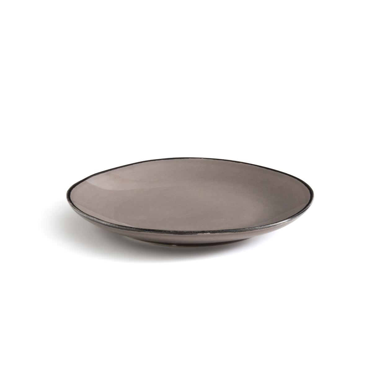 Комплект из 4 десертных тарелок LaRedoute Из фаянса Catalpin единый размер серый комплект из 2 вешалок slofia laredoute из березы единый размер черный