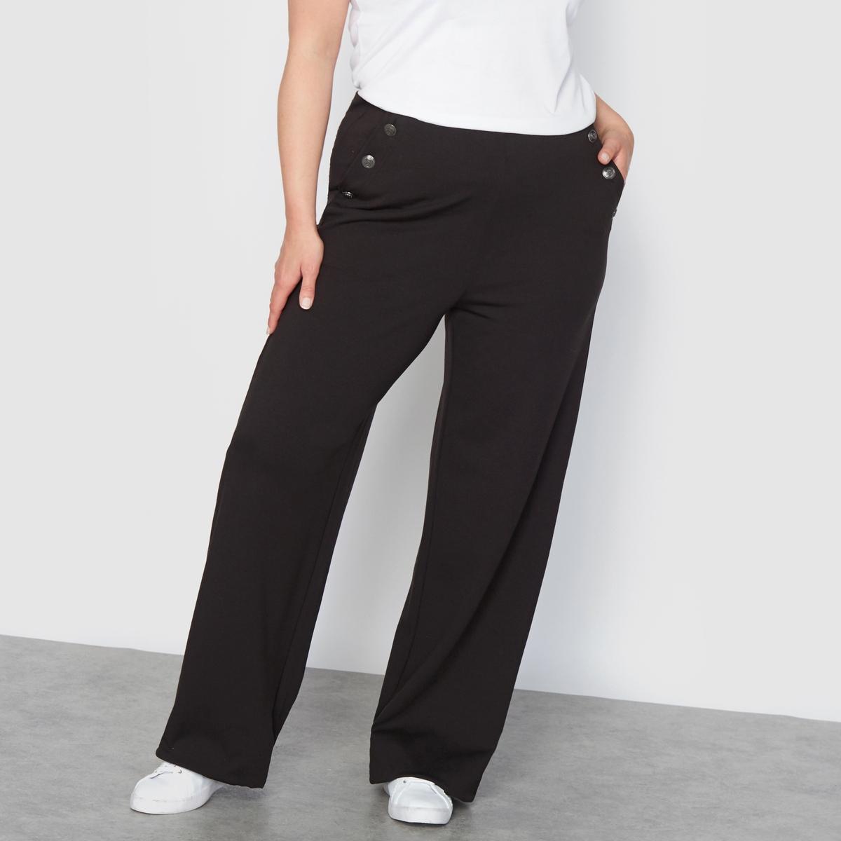 Брюки широкие трикотажные с завышенной талиейШирокие трикотажные брюки с завышенной талией.. Красивые брюки из комфортного трикотажа.Эластичный пояс (широкая плоская резинка внутри пояса). 2 кармана по бокам. 3 металлические пуговицы с каждой стороны высокого пояса.Состав и описание :Материал :Великолепный плотный и мягкий трикотаж отлично садится, 65% вискозы, 28% полиамида, 7% эластана.Длина по внутр.шву 78 см. Ширина по низу: 30 см .Марка : CASTALUNA.Уход : Машинная стирка при 30° на деликатном режиме.<br><br>Цвет: черный<br>Размер: 46 (FR) - 52 (RUS).52 (FR) - 58 (RUS).42 (FR) - 48 (RUS)