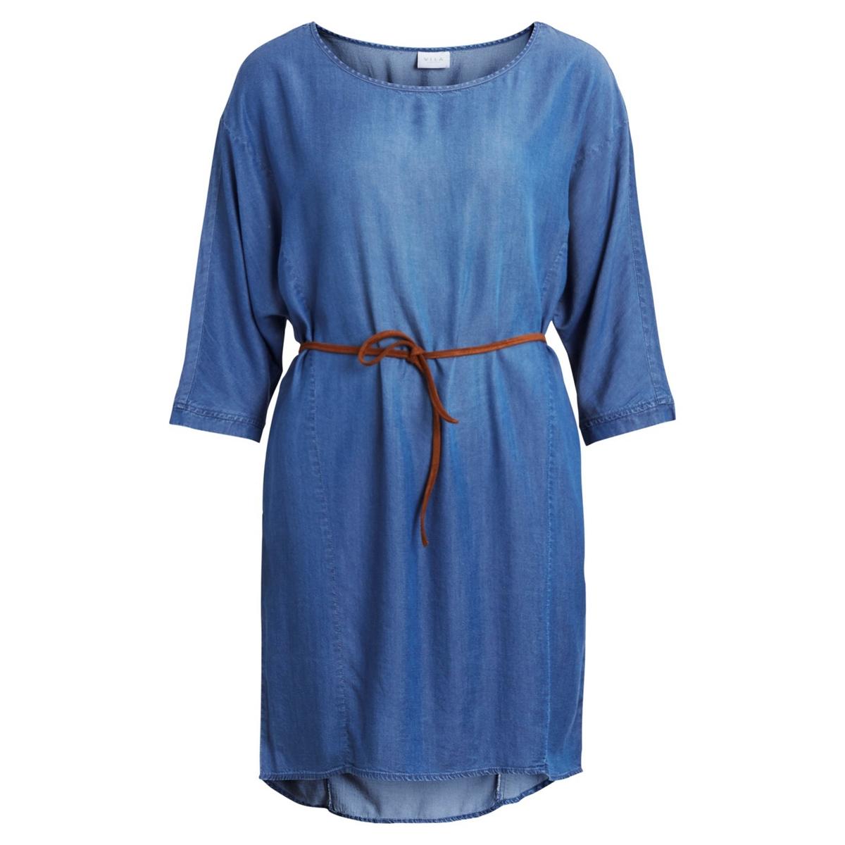 Платье однотонное расклешенного и короткого покроя с рукавами 3/4Описание:Детали •  Форма : расклешенная •  Укороченная модель •  Рукава 3/4    •  Вырез-лодочка Состав и уход •  40% вискозы, 60% лиоцелла •  Следуйте советам по уходу, указанным на этикетке<br><br>Цвет: темно-синий