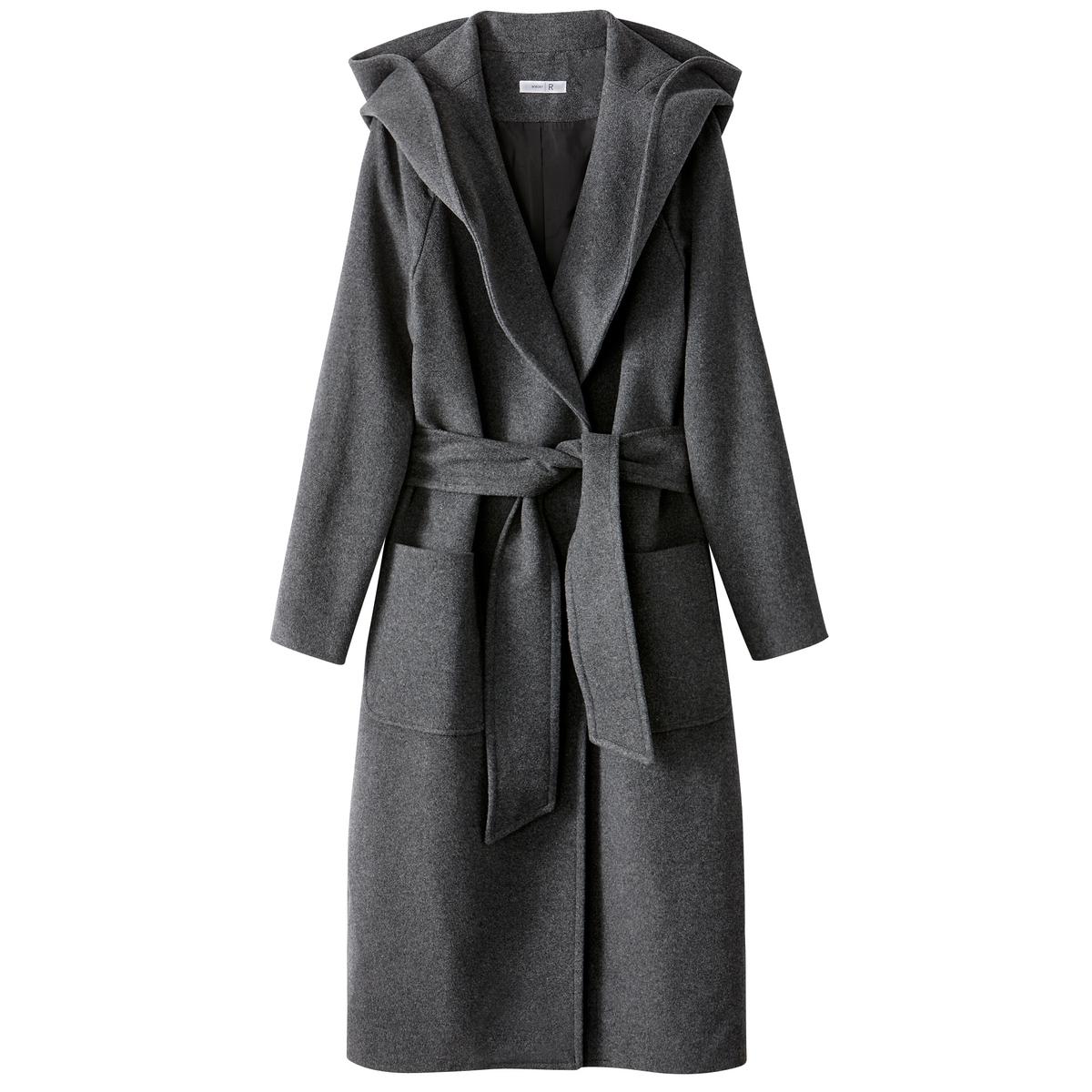 Пальто с капюшоном  из шерстяного драпа