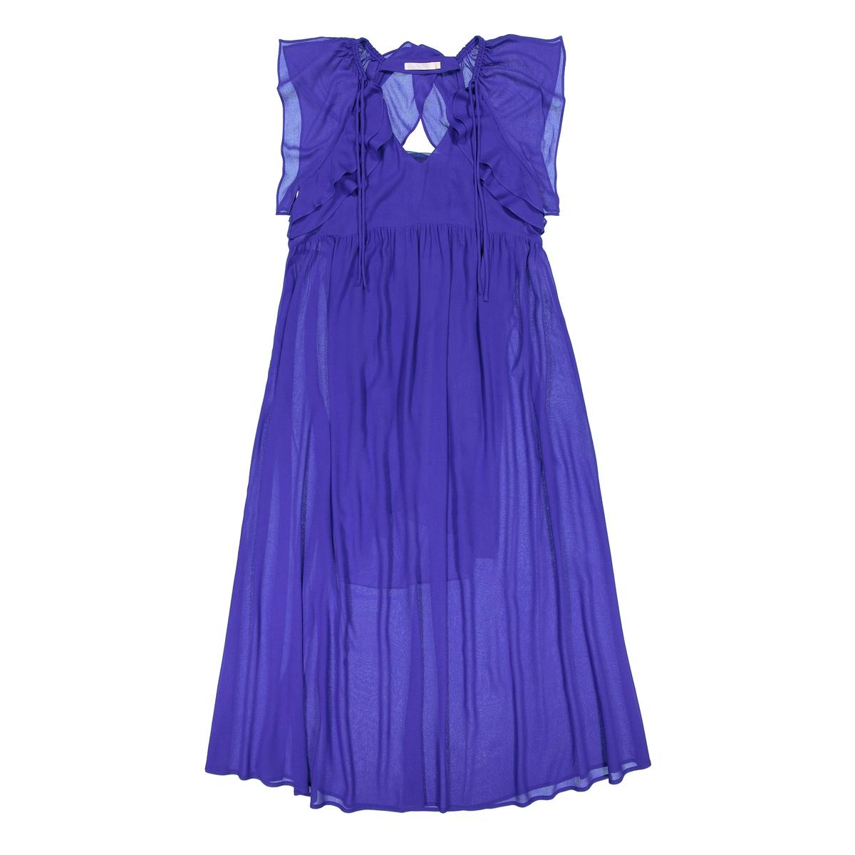 Платье длинное с воланами на плечах и застёжкой сзади