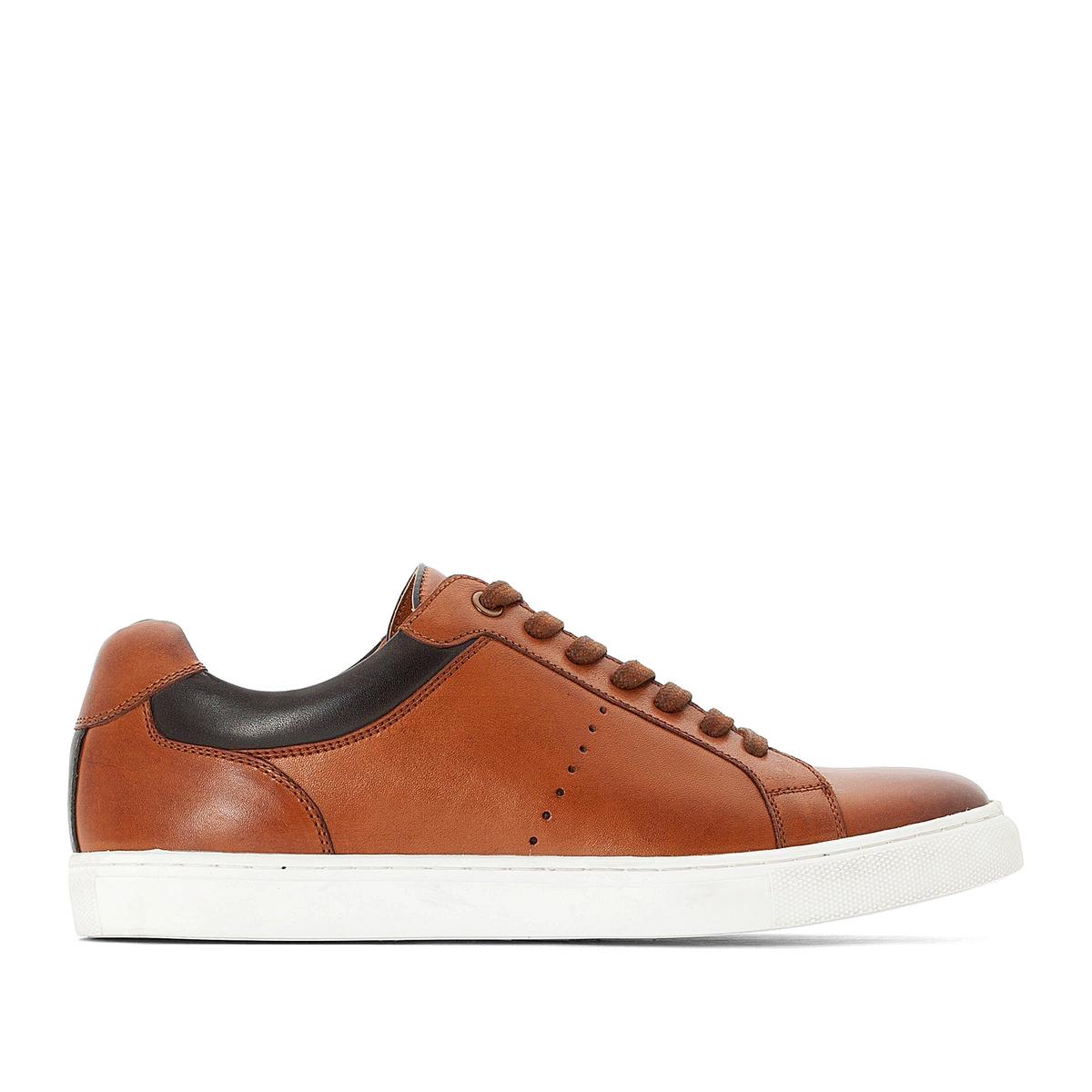 Кроссовки La Redoute — Кожаные на шнуровке 41 каштановый