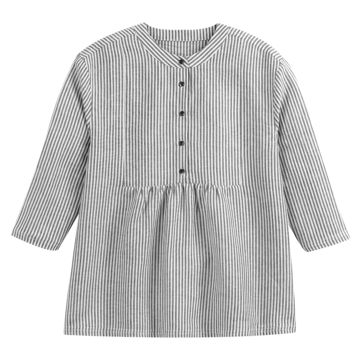Blusa amplia con cuello mao y mangas 3/4, lino mezclado