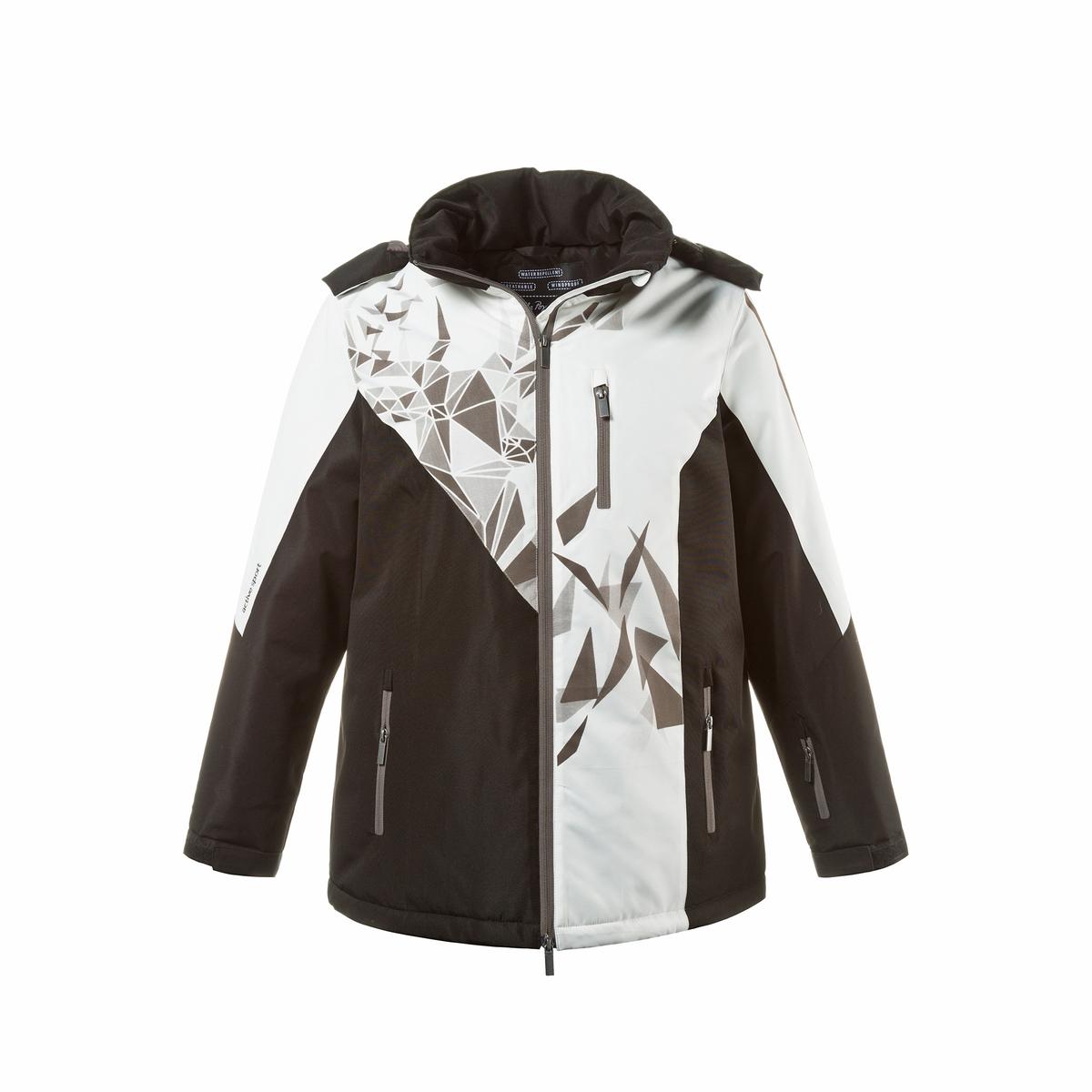 Куртка лыжнаяДвухцветная лыжная куртка, графический рисунок в виде оленя спереди. Три функции : защита от ветра, водоотталкивающая, дышащая. Капюшон на молнии, молния с двумя замками, 3 кармана на молнии, карман для ски-пасса на рукаве. Низ с завязкой на кулиске, длинные рукава с манжетами и планкой-велкро. Теплая подкладка, частично рифленая, практичные карманы. Длина в зависимости от размера. 74-82 см<br><br>Цвет: черный/ белый