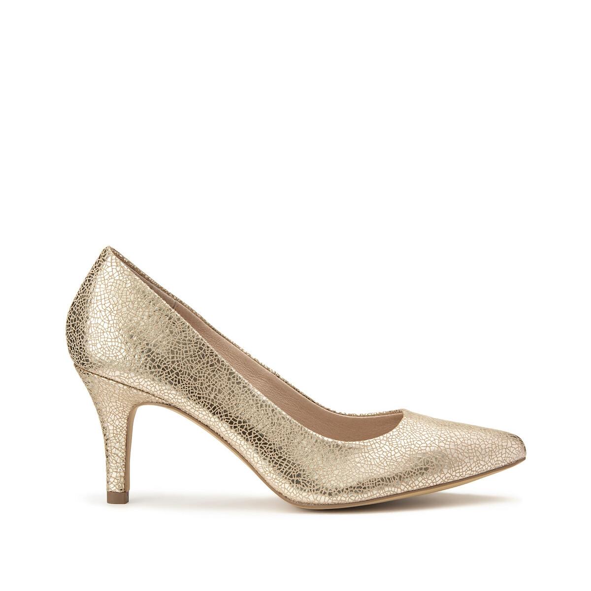 Туфли LaRedoute Из кожи на каблуке-шпильке 38 золотистый