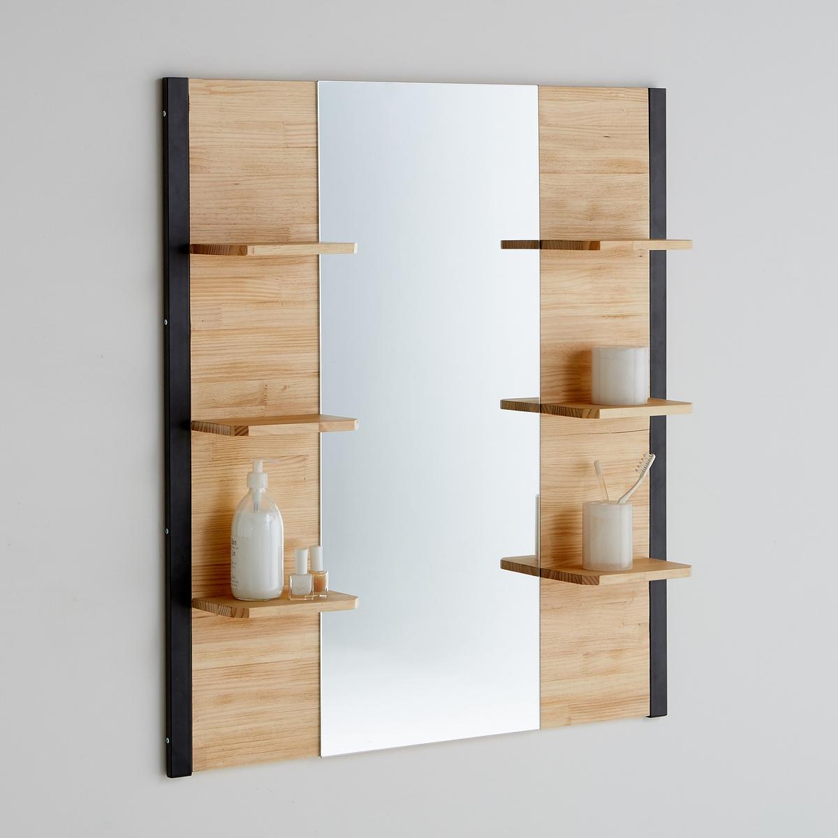 Зеркало для ванной комнаты, HibaОписание:- 1 зеркало по центру.- 6 полочек.- Можно просто повесить на стену и/или совместить со столом-тумбой Hiba, который продаётся на нашем сайте.Характеристики:- Металлический каркас, отделка порошковой эпоксидной чёрной матовой краской.- Полки из сосны, отделка нитроцеллюлозным лаком, толщ. 15 мм.Откройте для себя всю коллекцию  Hiba на laredoute.ru.Размеры:Общие:- Ширина: 90 см- Глубина: 14,5 см-  Высота: 100 см.Зеркало :  40 x 100 см.Размеры этажерки:  21,2 x 13 см.Размеры и вес в упаковке :1 упаковка. Шир. 108,5 x Гл. 56 x Выс. 8 см. 15,3 кг.Доставка:Эта модель Hiba продаётся готовой к сборке.  Возможна доставка до квартиры!Внимание! Убедитесь в том, что посылку возможно доставить на дом, учитывая ее габариты.<br><br>Цвет: серо-бежевый