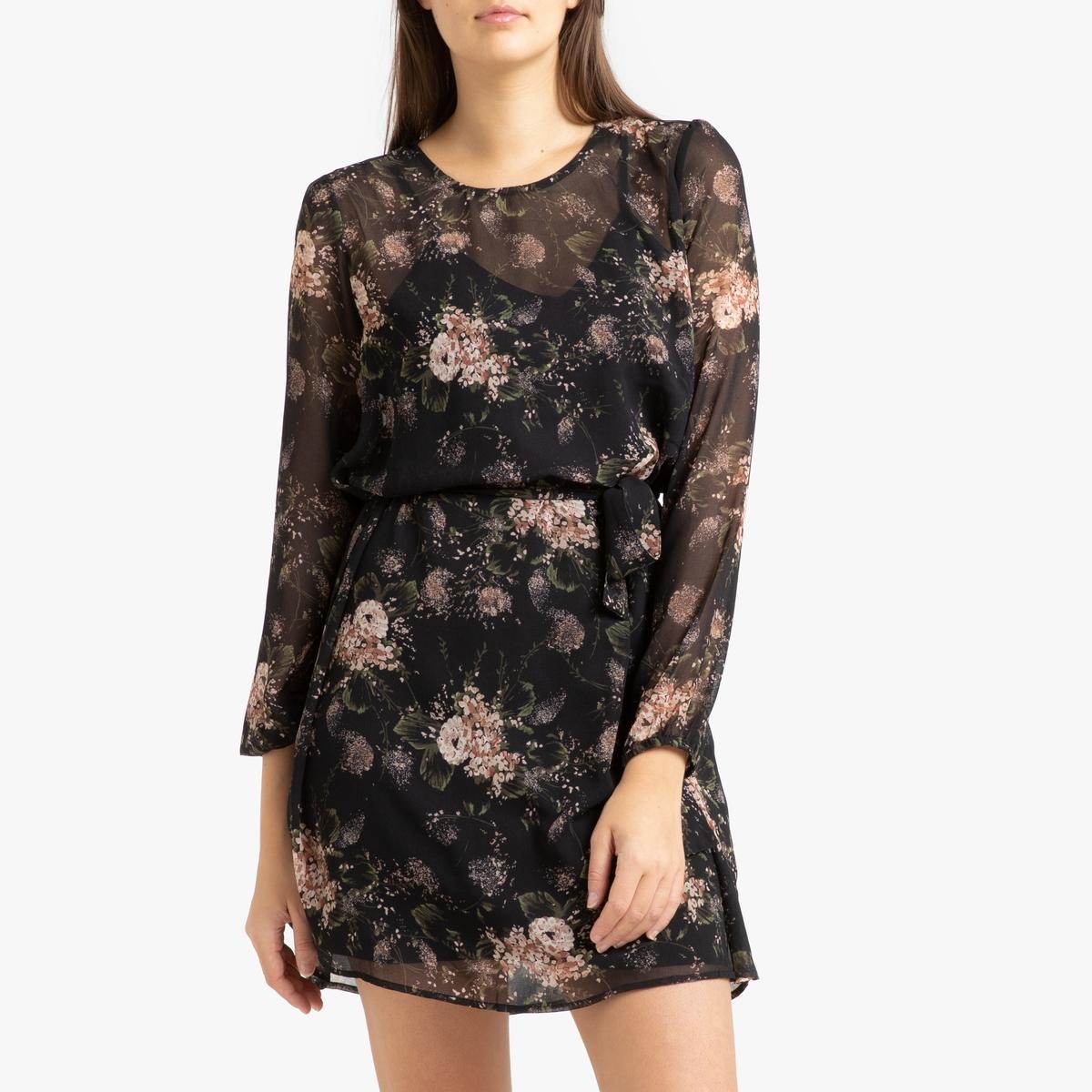 Платье La Redoute Из вуали с принтом с длинными рукавами 42 (FR) - 48 (RUS) черный