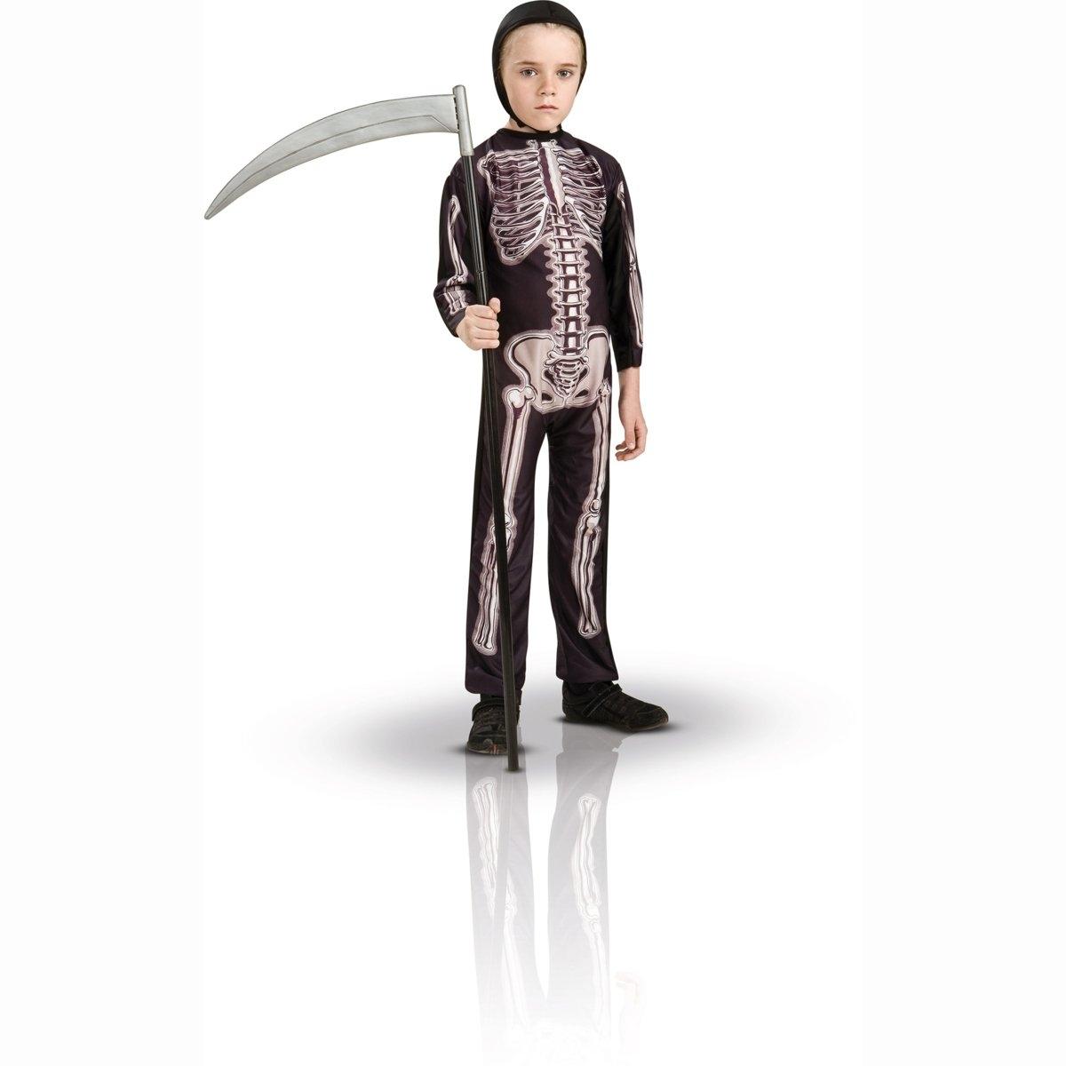 Маскарадный костюм скелетМаскарадный костюм скелет. Комбинезон без застёжки с рисунком скелет, чёрный капюшон. 100% полиэстераS: соответствует размеру на  3-4 года. M: соответствует размеру на  5-6 лет. L: соответствует размеру на  7-8 лет<br><br>Цвет: набивной рисунок<br>Размер: M