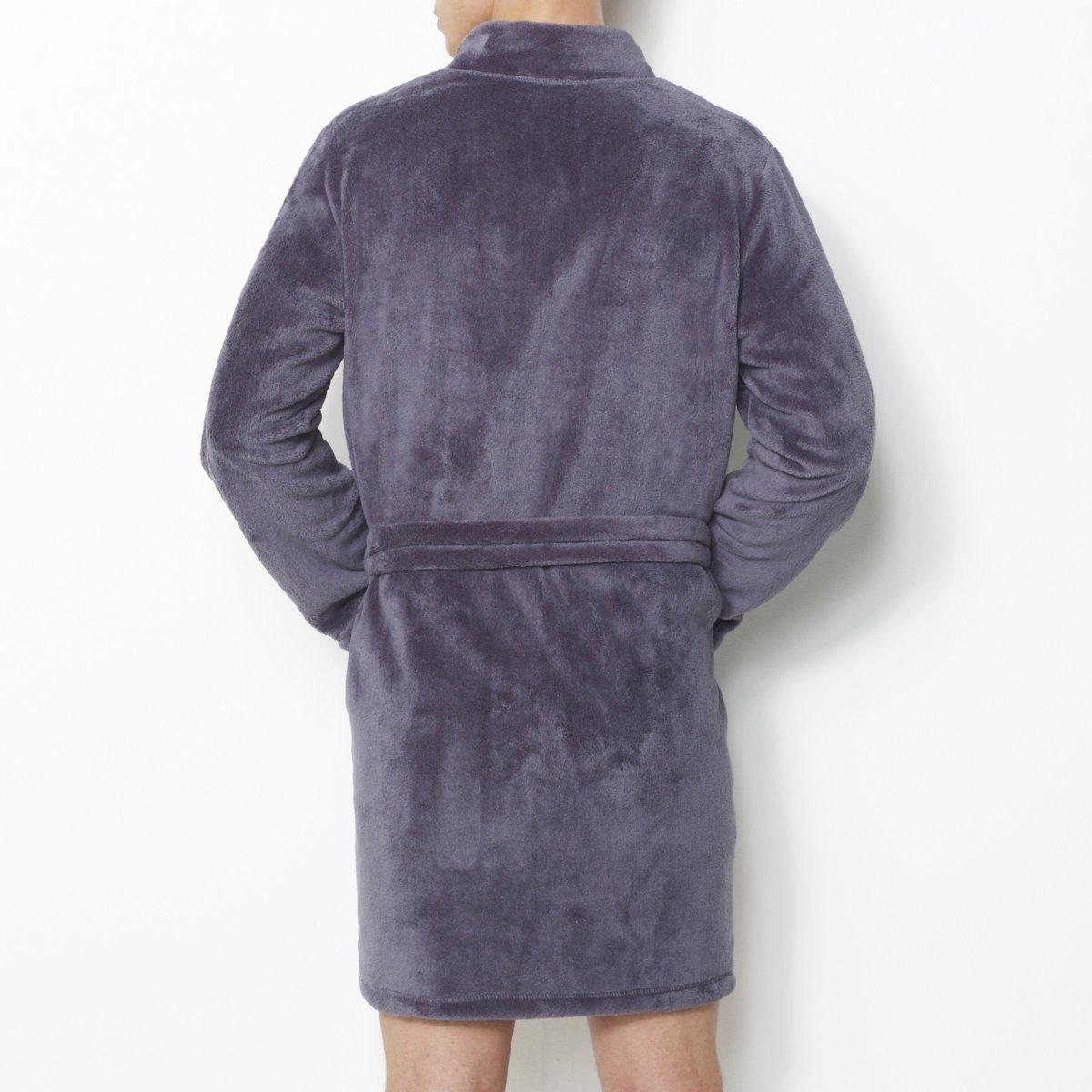 Халат, длина 90 смУльтрамягкий флис, 100% полиэстера. Воротник-кимоно. 2 кармана спереди. Пояс с завязками в шлевках. Длина 90 см: до коленей.<br><br>Цвет: серый,синий морской<br>Размер: M
