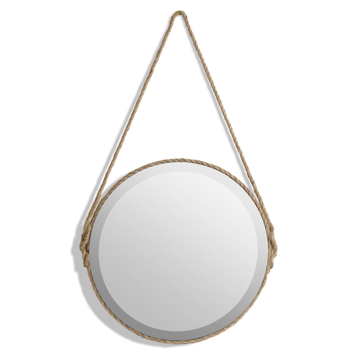 Зеркало Lien, диаметр 50 смХарактеристики :- Отделка хлопковым шнуром по всей окружности и для фиксации на стене.- Оборотная сторона из МДФ.Размеры :- Диаметр 50 x высота 85,5 см. - Зеркало, диаметр 50 см<br><br>Цвет: серо-бежевый,черный