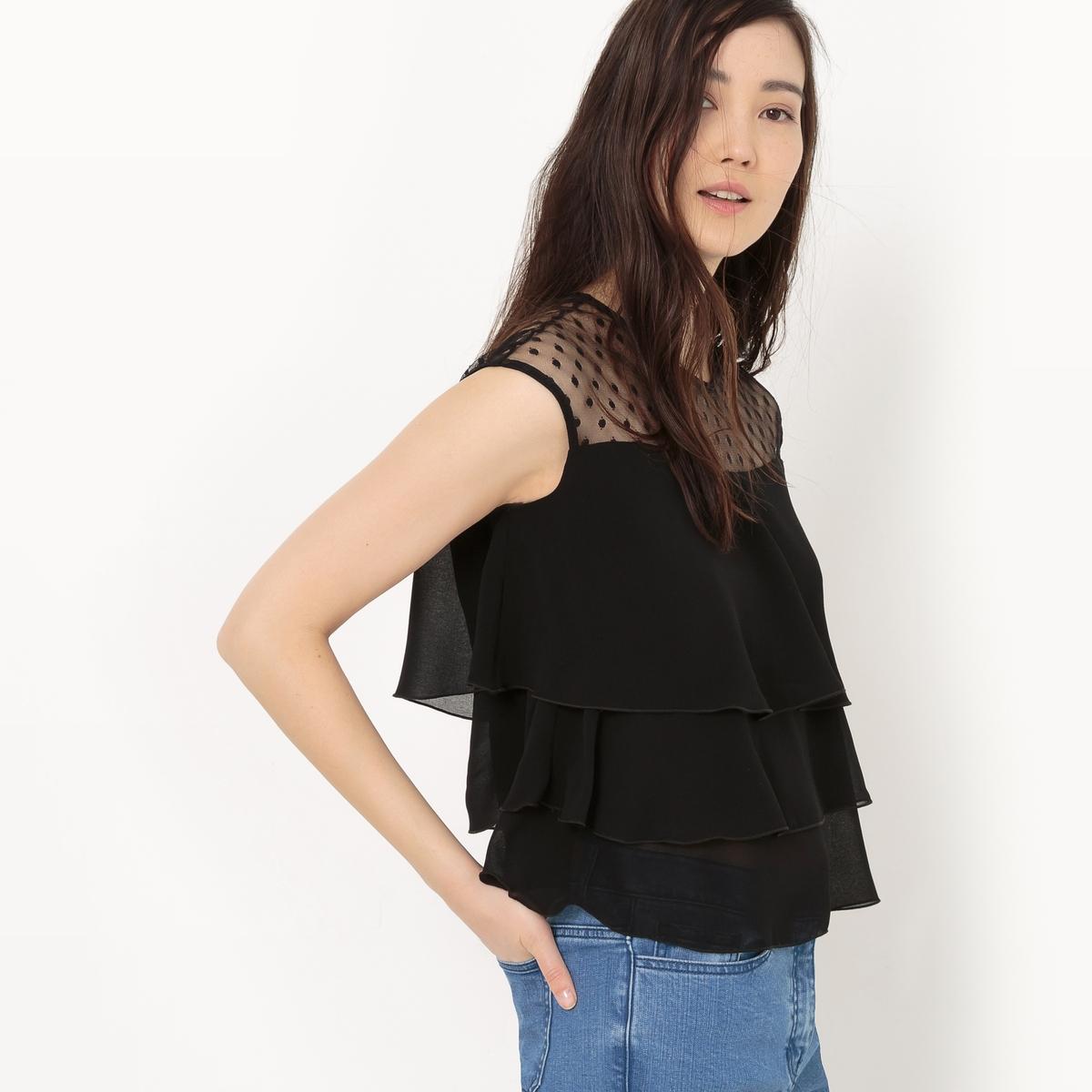 Блузка с воланами на коротких рукавах и вставкой