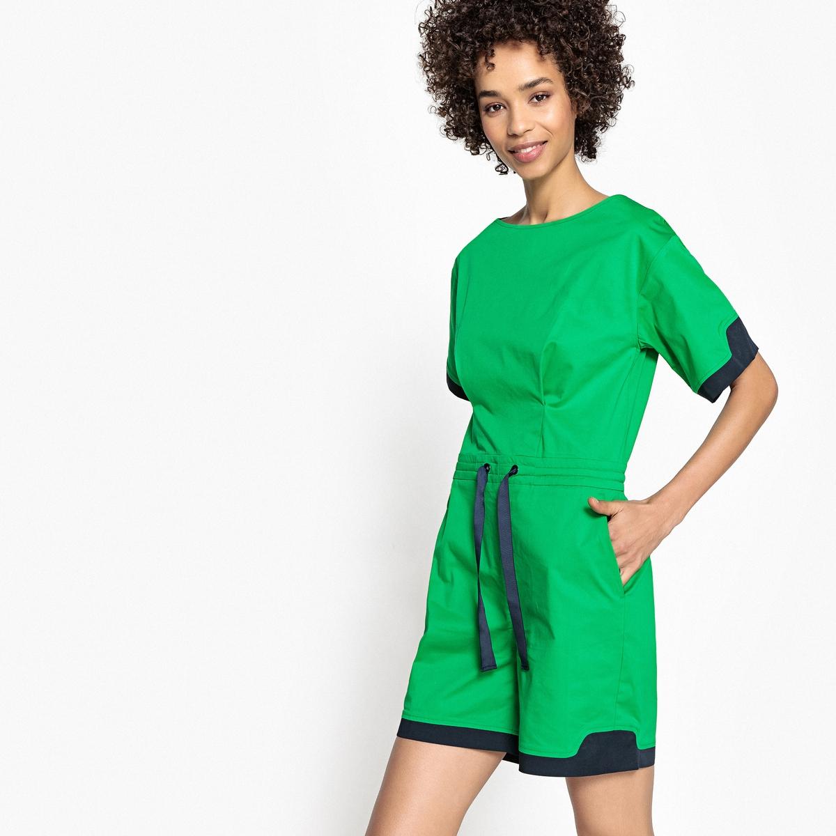 Комбинезон с шортами и рукавами-кимоно двухцветный