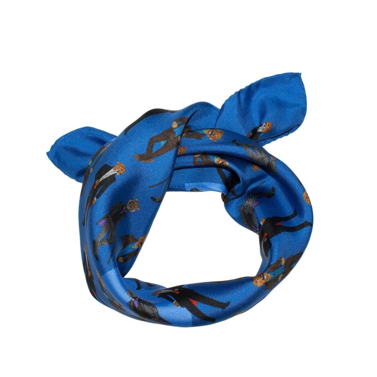 Foulard en soie enfant mini carré bleu garçon DANDYS