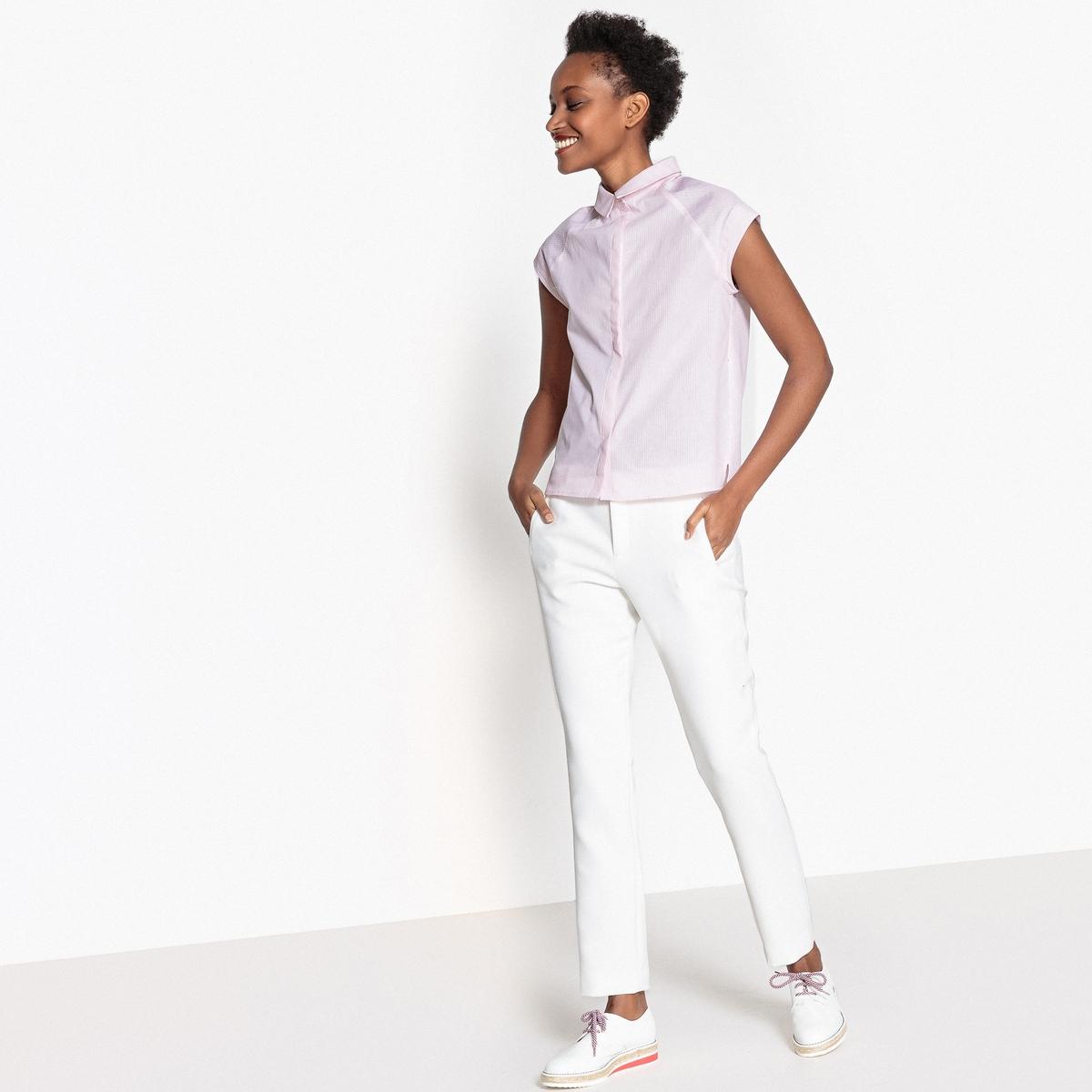 Рубашка прямая с рубашечным воротником и рисунком в полоску